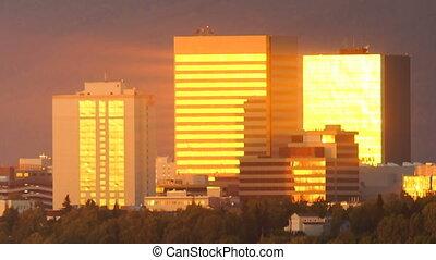 Sunset Downtown City Skyline Anchorage Alaska North America...