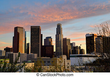 Sunset downtown skyscrapers Los Angeles California