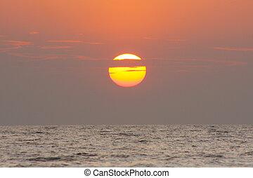 sunset dramatic sky background in Kerala, India