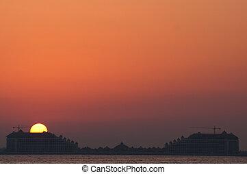 Sunset Dubai - Beautiful sunset in the jumeirah beach of...