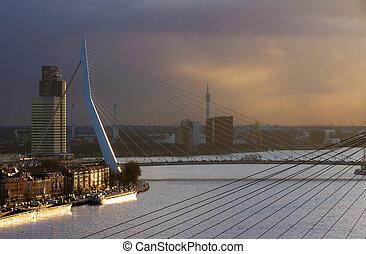 Sunset Erasmus bridge