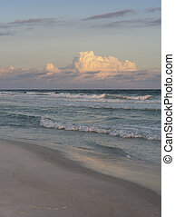 Sunset Evening or Rosy Dawn at Beautiful Florida Beach -...