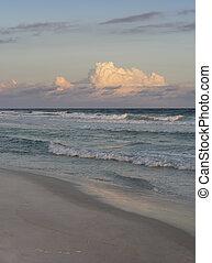 Sunset Evening or Rosy Dawn at Beautiful Florida Beach -...