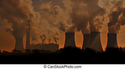 Sunset factory - A power station at sunset.