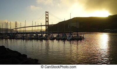 Sunset Falls Golden Gate Bridge Black Sands Beach Marina