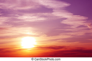 Sunset - Fantasy beautiful sunset. Horizontal photo