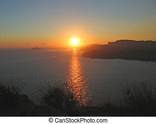 Sunset finishing on Cassis and the calanques, Marseille, ...