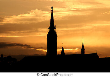 sunset Fisherman bastion silhouette Budapest Hungary