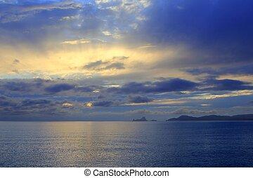 sunset Formentera Ibiza Island Es Vedra horizon