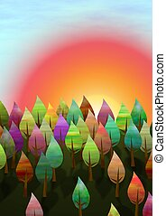 Sunset Forrest - Illustration of a sunset with a forrest ...