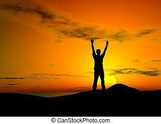 Sunset freedom - Silhouette of a man with open arms over...
