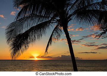 Sunset from Kihei on the Hawaiian island of Maui.