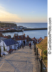 Sunset from the 199 steps at Whitby