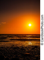 Sunset from the beach at Druidston Haven in Pembrokeshire