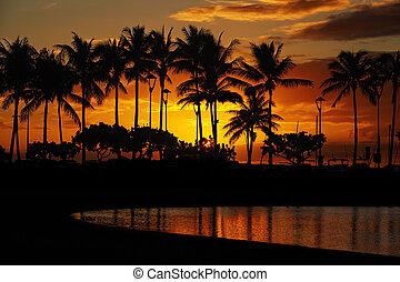 sunset from Waikiki Beach, Honolulu, Oahu, Hawaii
