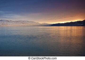 Sunset Glow on Mountain Lake