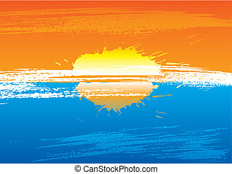 Sunset grunge - Sunset abstract background illustration...