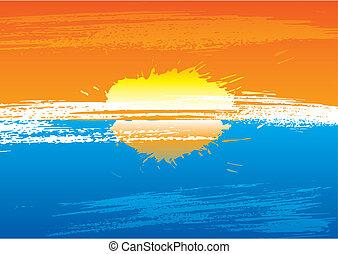 Sunset grunge - Sunset abstract background illustration...