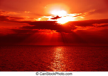 Sunset, Gulf of Mexico - A brilliant sunset over the water of the Gulf of Mexico at Ft Meyers Beach in December.