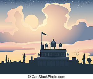 sunset gurdwara - an illustration of a sikh gurdwara at...