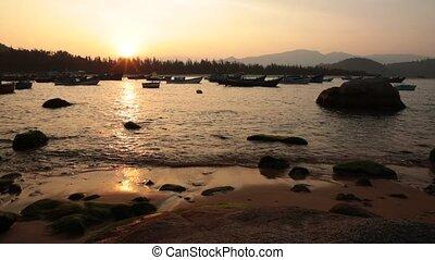 Sunset Harbour Vietnam - A fishing harbour scene at sunset...