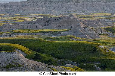 Sunset Highlights Detail of Badlands Formations