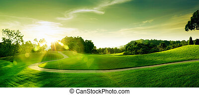 sunset hill - panoramic view of nice green hill on blue sky...