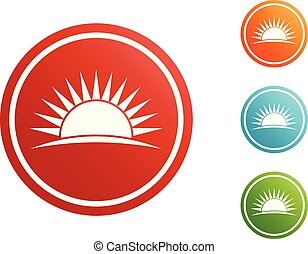 Sunset icon set vector