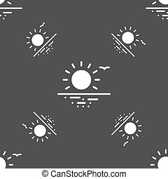 sunset icon sign. Seamless pattern on a gray background. Vector