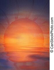 Sunset illustration - Summer background with colorful sunset...