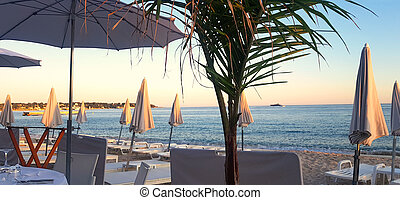 Sunset in a beach in Juan les Pins, French Riviera