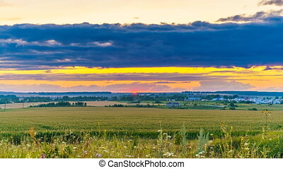 Sunset in a countryside - 4K time lapse - Panoramic time ...