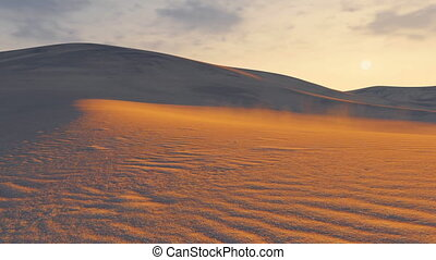 Sunset in a desert. Time lapse