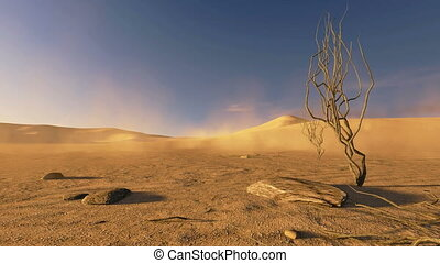 Realistic 3D animation of a sandy African dunes at sunset with dead trees and sand blowing. Locked down (no camera movement).