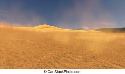 Sunset in a dunes with sand blowing