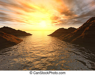 Sunset in a gulf. A picturesque gulf with an effective...