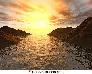 Sunset in a gulf