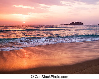 Sunset in a spanish beach