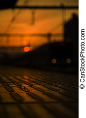 Sunset in a train station