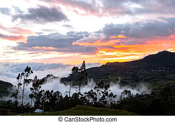 Sunset In A Village In The Foothills Of The Andes