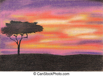 Sunset in Africa. Pastel painting - Sunset in Africa....