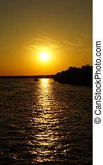 Sunset in Africa - Sunset on the Zambezi River in Zambia