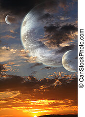 Sunset in alien planet - Collage - sunset in alien planet