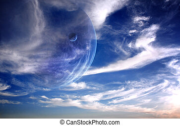 Sunset in alien planet