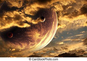 Sunset in alien planet - Collage - sunset in alien planet