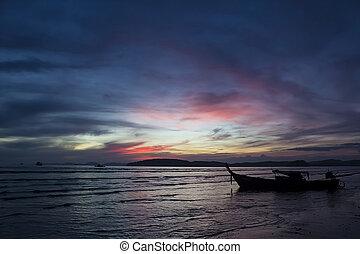 Sunset in Andaman sea, Krabi, Thailand
