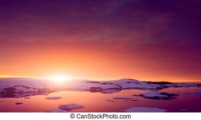 Sunset in Antarctica. Slow motion 4K footage