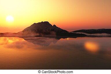 Sunset in Antarctica. - Summer sunset in Antarctica. ...