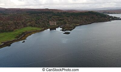Sunset in autumn at Dunvegan Castle, Isle of Skye - Aerial