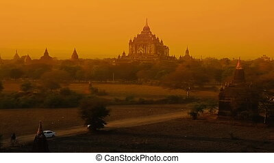 Sunset in Bagan - Colorful sunset in Bagan, Myanmar with...